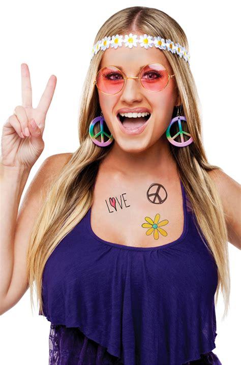 trucco anni 70 figli dei fiori decades instant costume kit 60 s hippie purecostumes