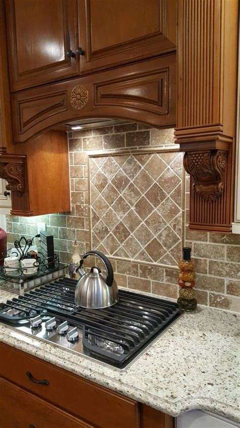 interior travertine subway tile backsplash as the best