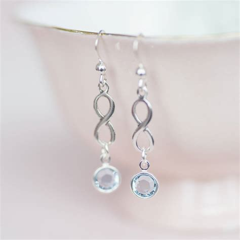 sterling silver infinity birthstone earrings by by