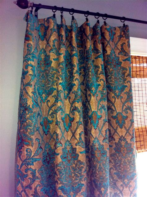 damask curtain teal damask curtain panel custom drapery in by stitchandbrush
