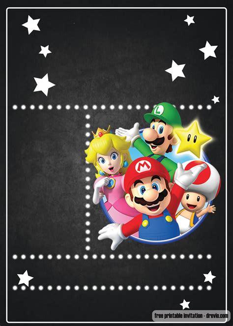 Free Super Mario Chalkboard Invitation Template Free Invitation Templates Drevio Mario Invitations Template Free