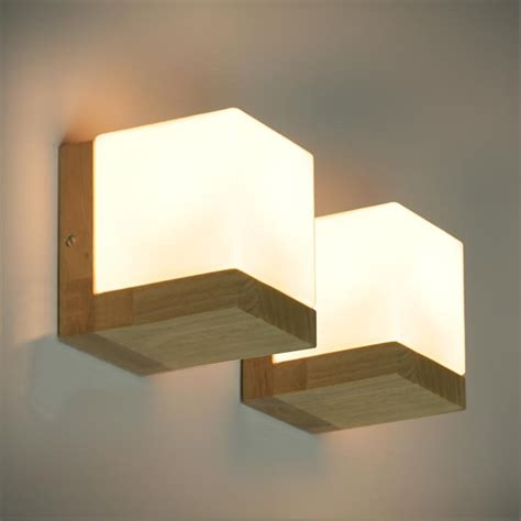 Modern Wall Lights For Bedroom Modern Oak Wood Cube Sugar Shade Wall Ls Bedroom Bedside Wall Light Bathroom Light Wall