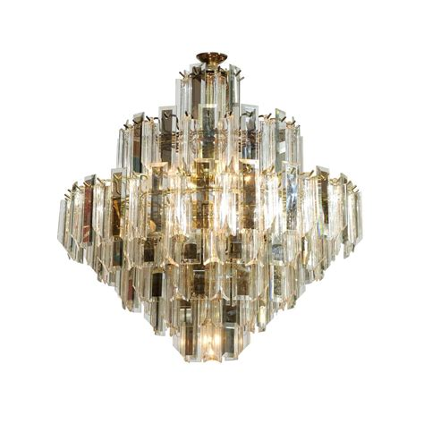 Mirror Chandelier Lucite And Mirrored Glass Chandelier At 1stdibs