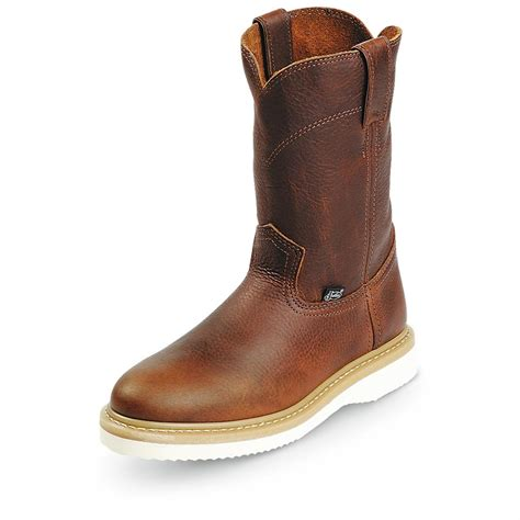 s justin 174 10 quot pull on wedge boots 203254