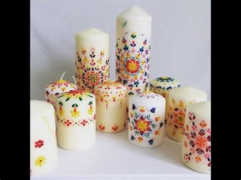 candele decorative candle decoration with wax lace design
