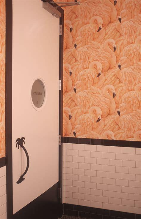 flamingo wallpaper nyc the most awesome bathroom and bar ever alana jones mann