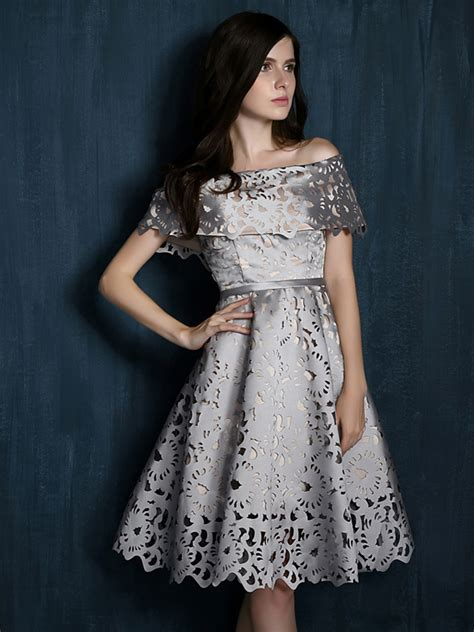 silver gray laser cut fold shoulder prom skater dress choies