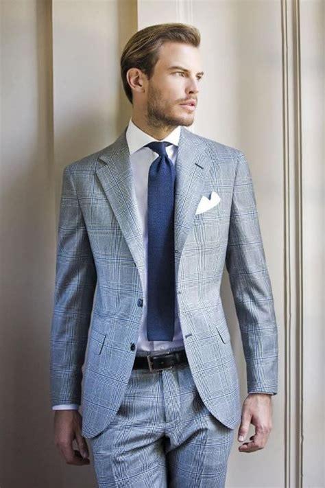 blue suit patterned shirt grey patterned suit and blue tie mens suits tips