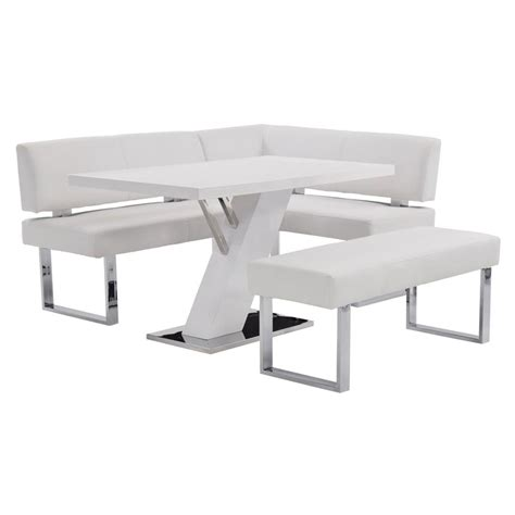 white corner bench linden white corner nook set w bench el dorado furniture