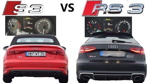 audi s3 0 to 100 new audi s3 vs new audi rs3 0 100 km h and sound