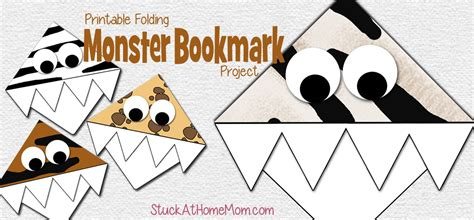 printable monster bookmarks monster corner bookmark template