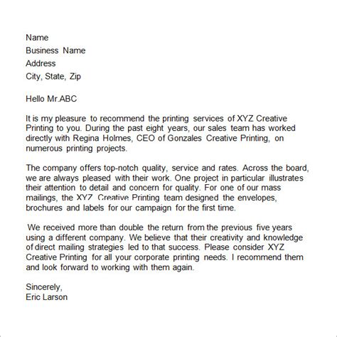 Business Reference Letter For A Company business reference letter 11 free documents in