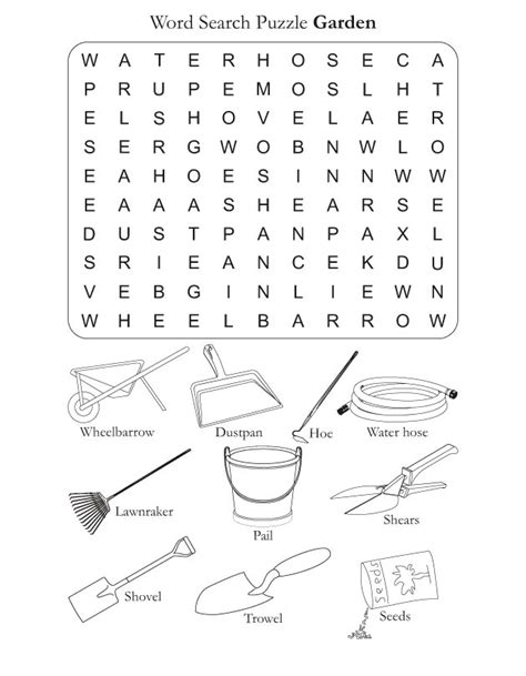 Gardening Worksheets Word Search Puzzle Garden Free Word Search