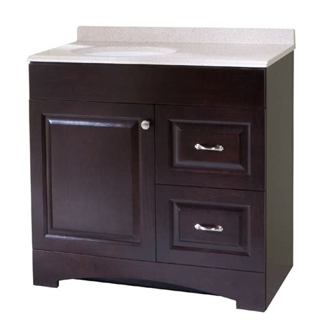 Lowes Bathroom Vanity Tops Shop Style Selections Almeta 36 5 In X 18 7 In Espresso Integral Single Sink Bathroom Vanity