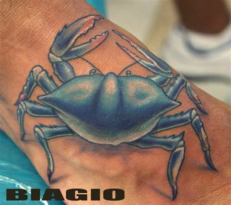 blue crab tattoo blue ink crab cancer on foot tattooshunt