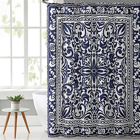 white and navy shower curtain vcny eleanor shower curtain in navy white bed bath beyond