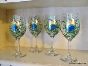 Hand painted peacock feather wine glasses tutorial diy painted wine