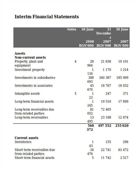 interim financial report template 28 statement sles templates in doc