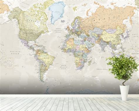 Classic World Map Mural Maps - classic world map wall mural classic world map wallpaper