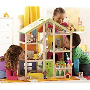 amazon doll house amazon com hape all seasons kid s wooden doll house furnished with accessories toys
