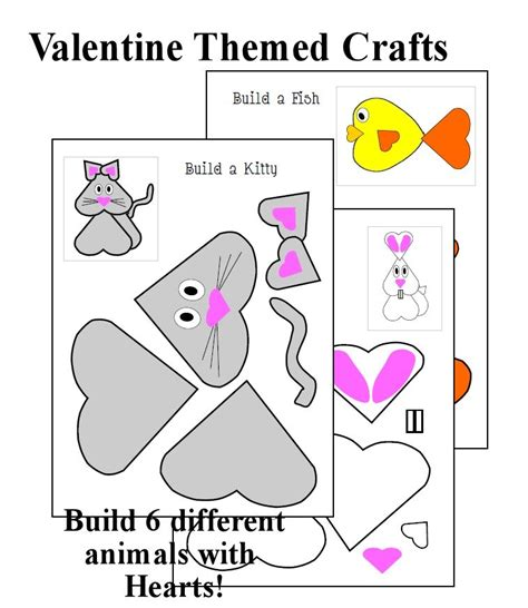 printable valentine animal crafts valentines craft heart animals christian homeschool