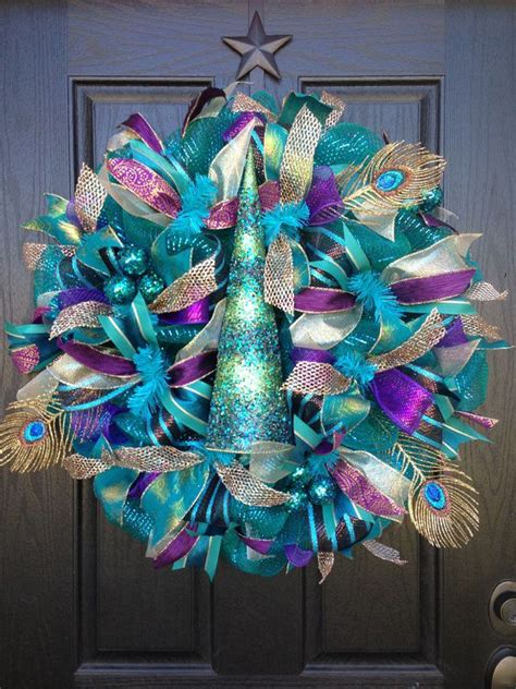 Purple And Teal Christmas Decorations by Wreath By Glitzy Wreaths Http Www Facebook Com