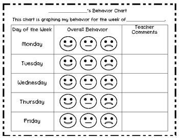 weekly smiley behavior chart weekly behavior charts