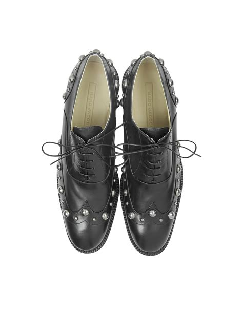 studded oxford shoes marc studded black leather oxford shoe in black lyst