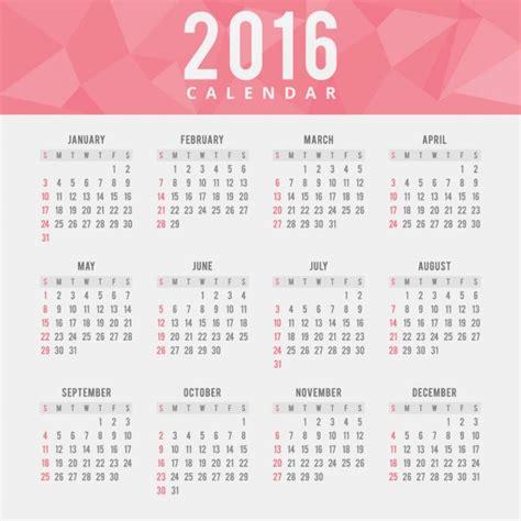 Calendã Em Semanas Polygonal 2016 Calendar Vector Free