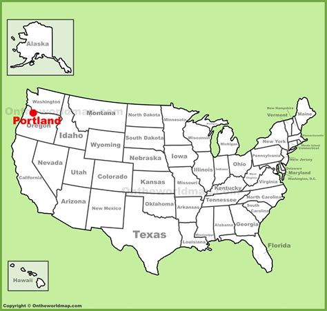 portland oregon on the usa map portland location on the u s map