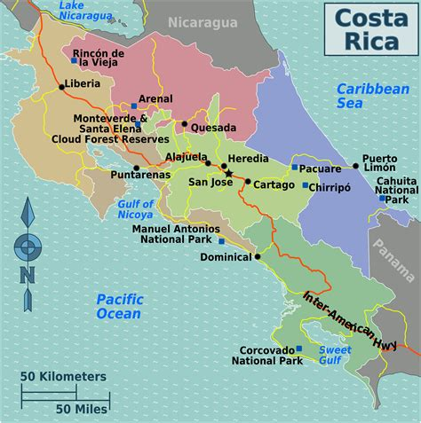 Can You Travel To Costa Rica With A Criminal Record Map Of Costa Rica Regions Worldofmaps Net