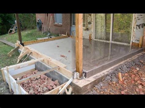 pouring concrete floor  concrete porch foundation