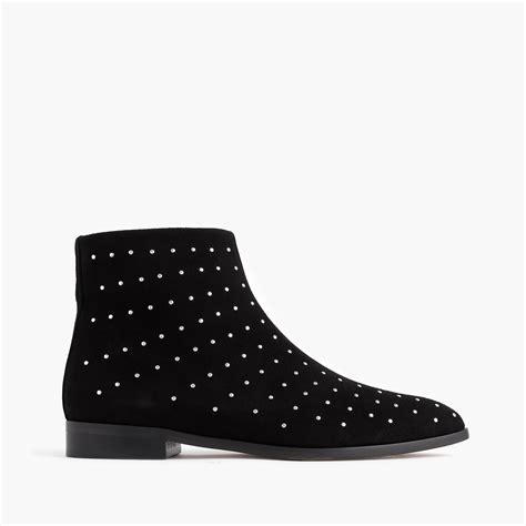 j crew studded suede ankle boots in black lyst