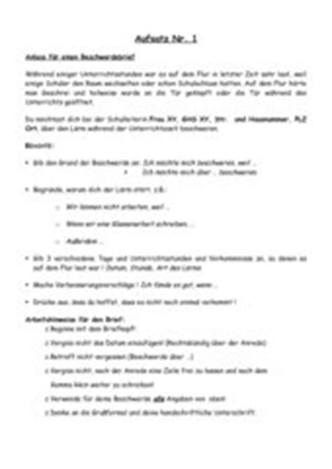 Beschwerdebrief Schreiben Schule 4teachers Beschwerdebrief