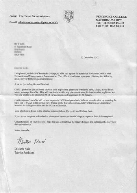 Rejection Letter Oxford Get Oxford Offer Letter Studential