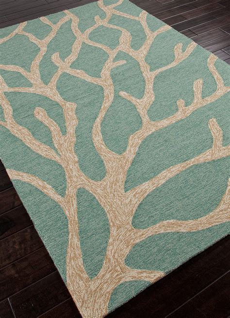 coral indoor outdoor rug 5x8 5 x 7 6 quot tropical coastal coral teal green indoor outdoor hooked area rug ebay