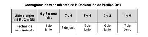 sunat fecha de declaracion de predios 2016 fechas de declaracion a la sunat segun numero de ruc
