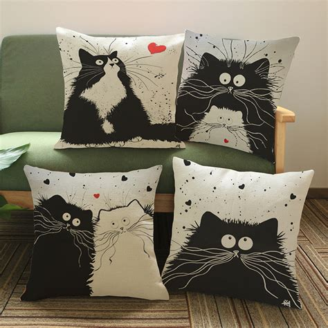Decorative Cushions And Pillows by 2016 Animals Black Cats Cushion Without Custom Cotton