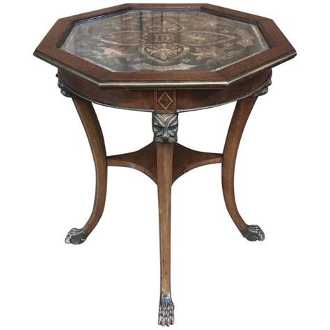Decoupage End Table - 19th century octagonal end table with postage st