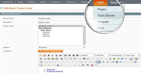 magento layout update xml add cms block magento cms tutorial how to create pages in magento