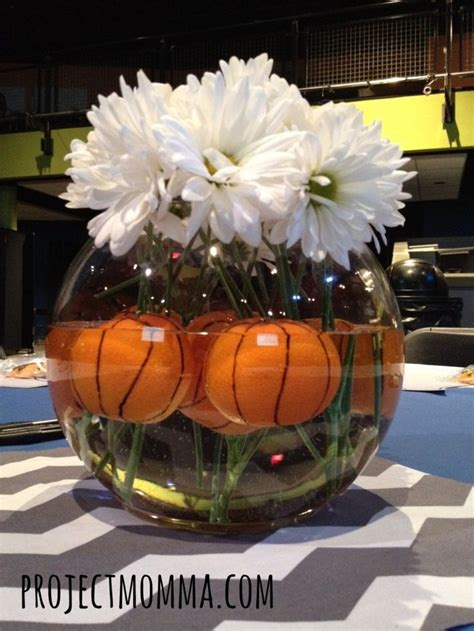 sports themed table decorations basketball centerpiece