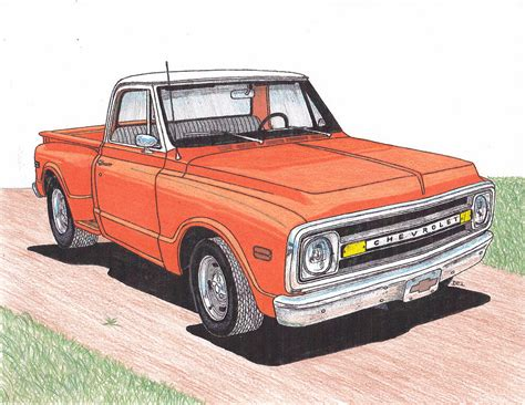 Chevy Truck Drawings by 1971 Chevy Truck Drawing By Darrell Leonard