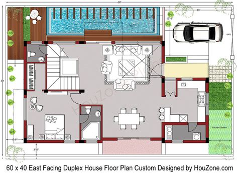 Small Two Floor House Plans by Duplex House Plan For 60 X 40 Plot Size Houzone
