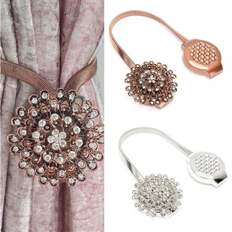 magnetic curtain clips flower crystal magnetic curtain clip tiebacks buckle