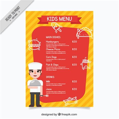 kids menu template with a chef vector free download