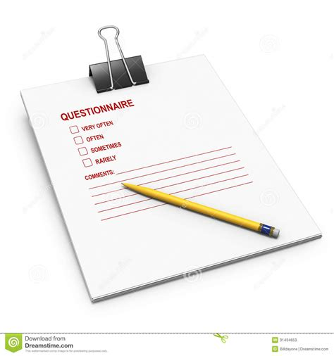 background questionnaire questionnaire with bulldog clip and yellow pen stock