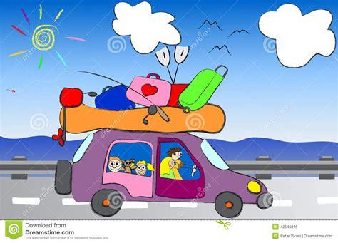 clipart viaggi viaggio divertente della famiglia fumetto nell