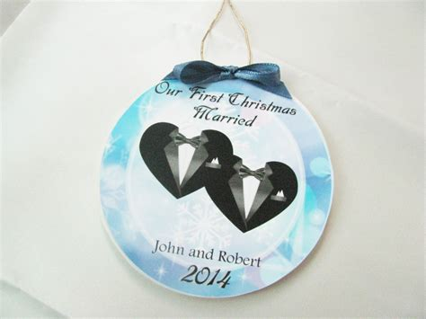 gay wedding gift first christmas gay marriage ornament
