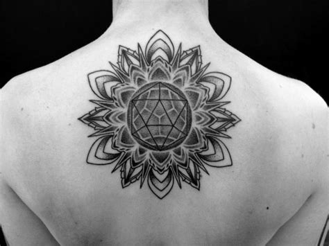 watercolor mandala tattoo on upper back