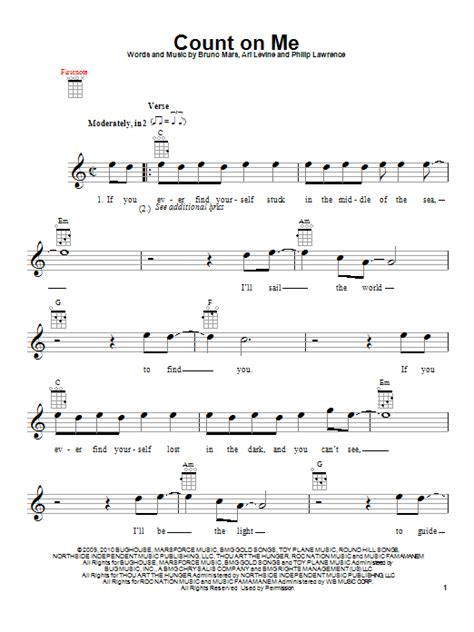 ukulele tutorial count on me count on me sheet music by bruno mars ukulele 153909